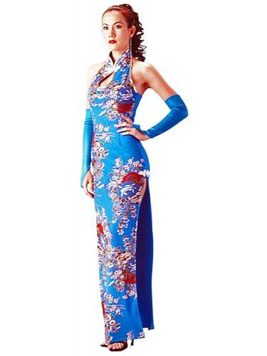 Long Turquoise Floral Cheongsam - Blue - One Size