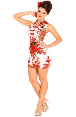 Sleek Floral Qipao Dress