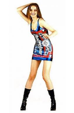Blue Metallic Budweiser Dress