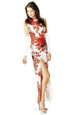 White Cheongsam Dress