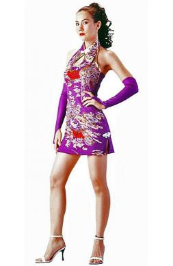 Sexy Short Purple Cheongsam