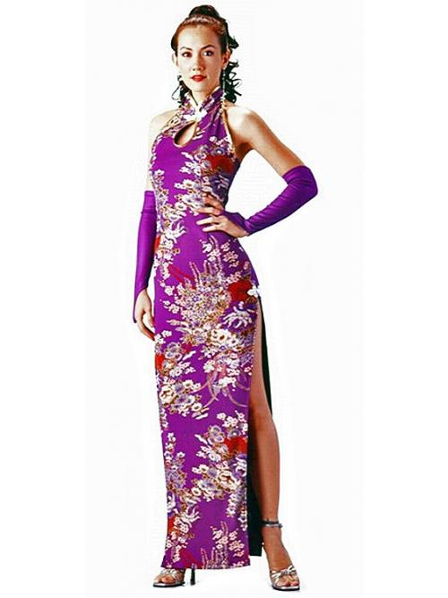 Long Purple Floral Cheongsam