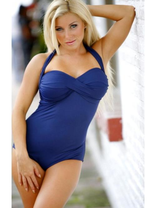 Trendy Navy One Piece Swimsuit