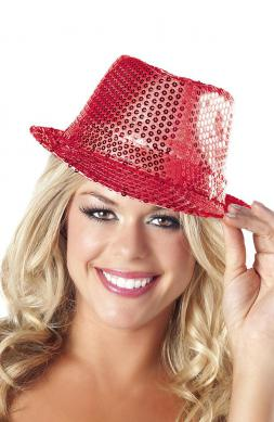 Sequin Fedora Hat Red