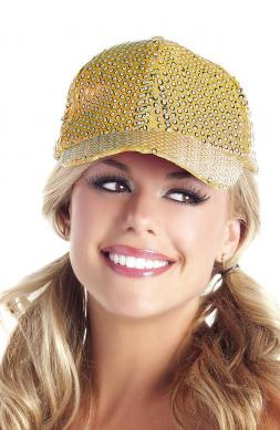 Sequin Baseball Hat Gold