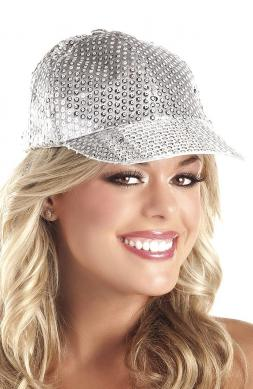 Sequin Baseball Hat Silver