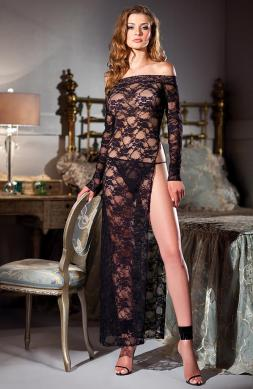 Boat Neck Lace Gown