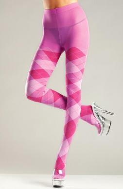 Nice Bubblegum Argyle Tights
