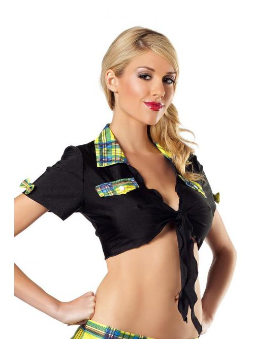 Black Top with Yellow Plaid Trim
