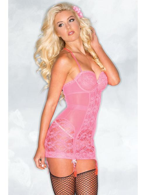 Hot Pink Lace Cami Suspender Slip