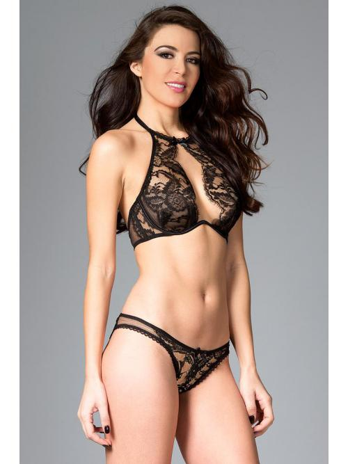 Alluring Sheer Lace Demi Bra Set