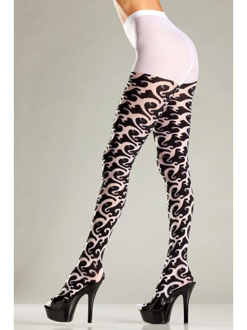 Opaque Tribal print pantyhose